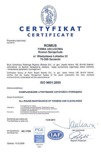 certyfikat ISO 9001:2000 wersja angielska