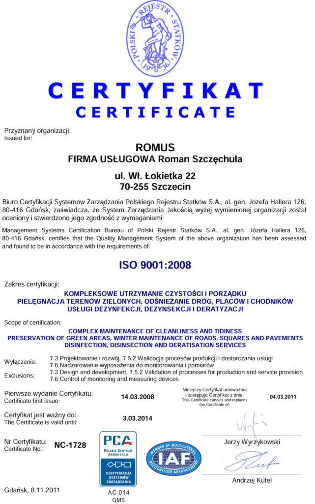 certyfikat ISO 9001:2008 wersja angielska