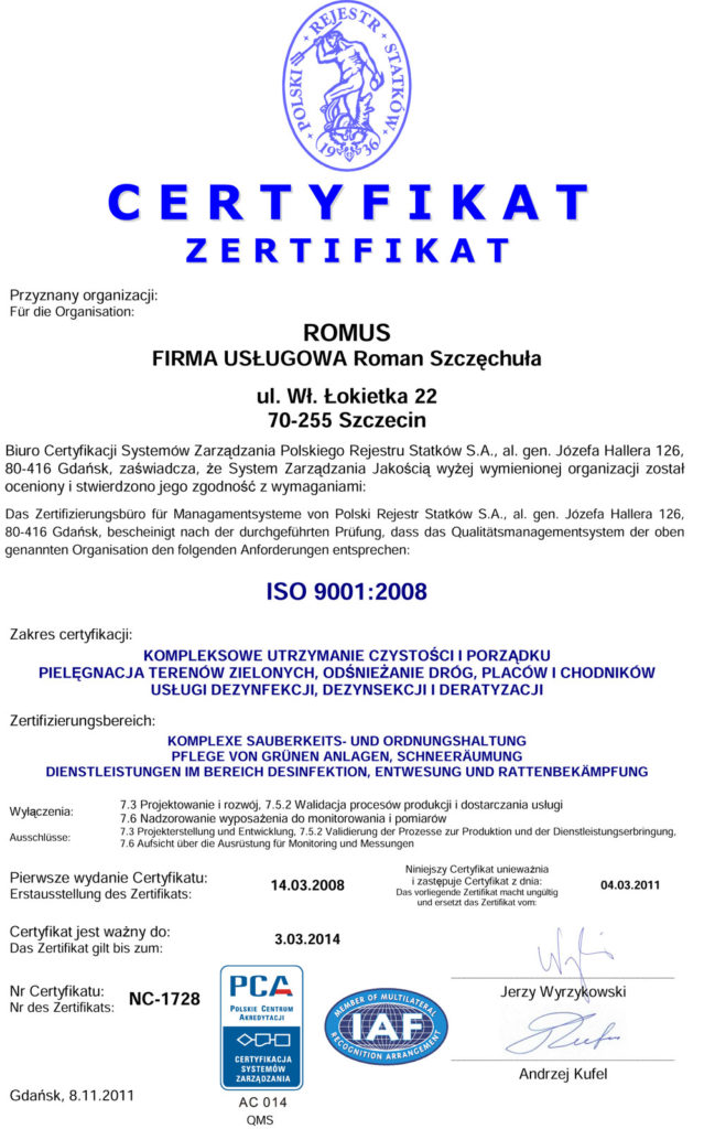 certyfikat ISO 9001:2008 wersja niemiecka