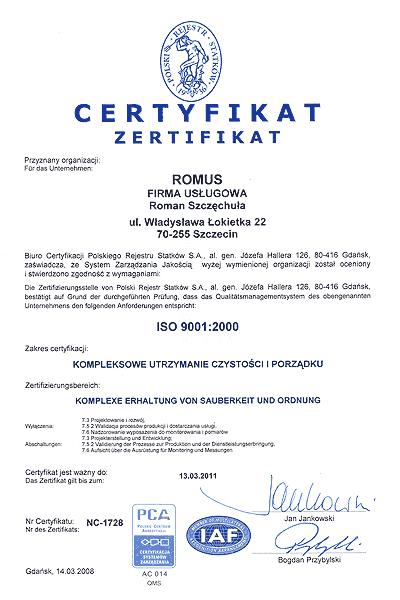 certyfikat ISO 9001:2000 wersja niemiecka